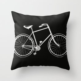 Bike on black Throw Pillow