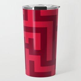 Crimson Red and Burgundy Red Labyrinth Travel Mug