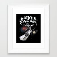 sagan Framed Art Prints featuring Silver Sagan by The Cracked Dispensary