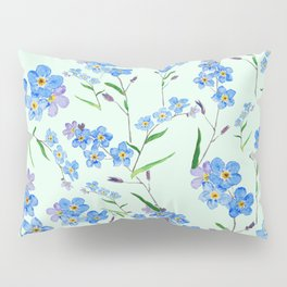 forget me not in green background Pillow Sham