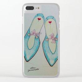 aqua shoes, chiffon ribbon, pink chiffon, shoes, fashion sketch, Clear iPhone Case