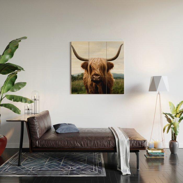 Scottish Highland Cattle in Scotland Portrait II Wood Wall Art