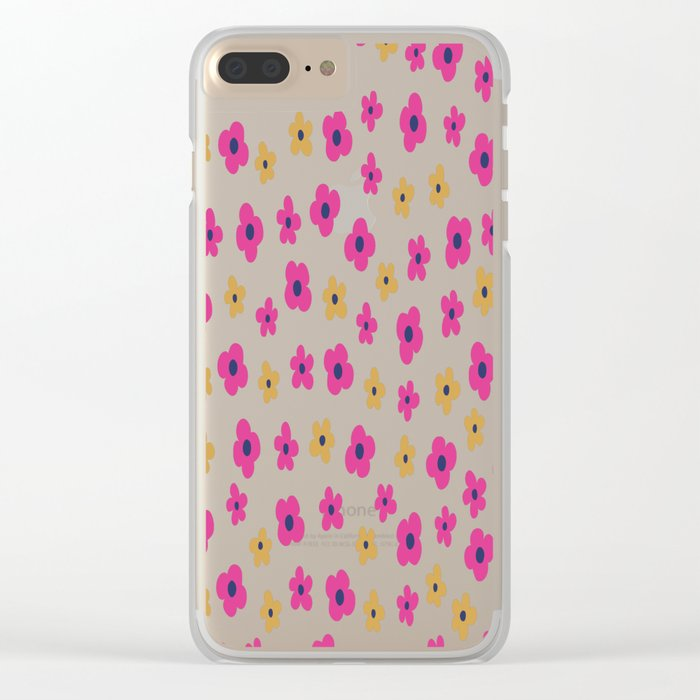 Pink and Gold Little Flower Pattern Clear iPhone Case