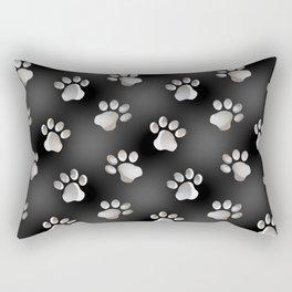 Black and Silver Animal Cat Dog Paw Prints Rectangular Pillow