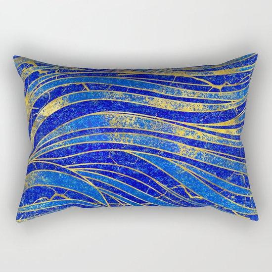 Lapis Lazuli and gold vaves pattern by k9printart