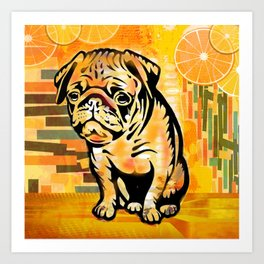 Pug pop art Art Print