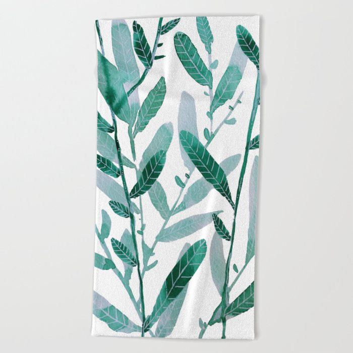 greeen water color leaves Beach Towel