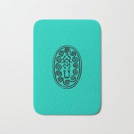 Ancient Egyptian Amulet Turquoise Blue Bath Mat