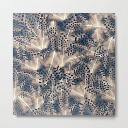 Feathers furface - beige an blue - animal print Metal Print