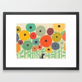 Cat in flower garden Framed Art Print