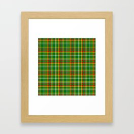 Green Red Yellow and White Plaid Framed Art Print