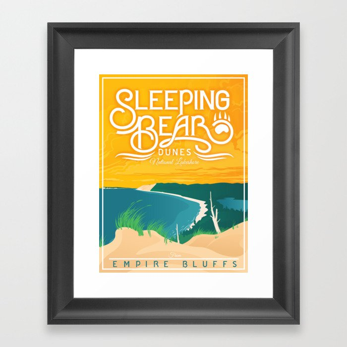Sleeping Bear Dunes - Vintage Inspired Michigan Travel Poster Gerahmter Kunstdruck