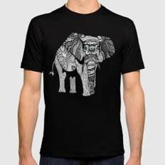 Tribal Elephant Black and White Version MEDIUM Black Mens Fitted Tee