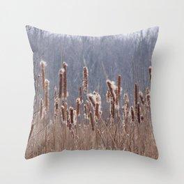 Cattails in Summer Throw Pillow