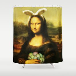 Easter Mona Lisa with Bunny Ears and Colored Eggs Shower Curtain