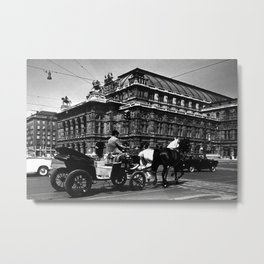 Retro Austria Vienna Fiaker Staatsoper opera  1970 Metal Print