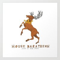 game of thrones Art Prints featuring House Baratheon- Game of Thrones by 366Sketchbook
