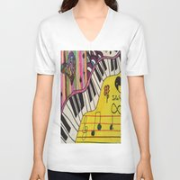 piano V-neck T-shirts featuring Piano by Sydsart1259