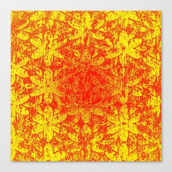 Fiery Halftone Flowers Canvas Print