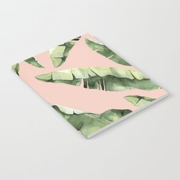 Banana Leaves 2 Green And Pink Notebook