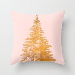 Christmas Tree Gold Throw Pillow
