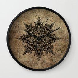 Ancient Stone Mayan Sun Mask Wall Clock
