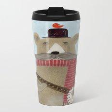 Moustache bear Metal Travel Mug