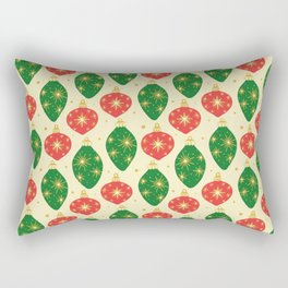 Vintage Festive Hand-painted Christmas Tree Ornaments with Beautiful Acrylic Texture, Green and Red Rectangular Pillow