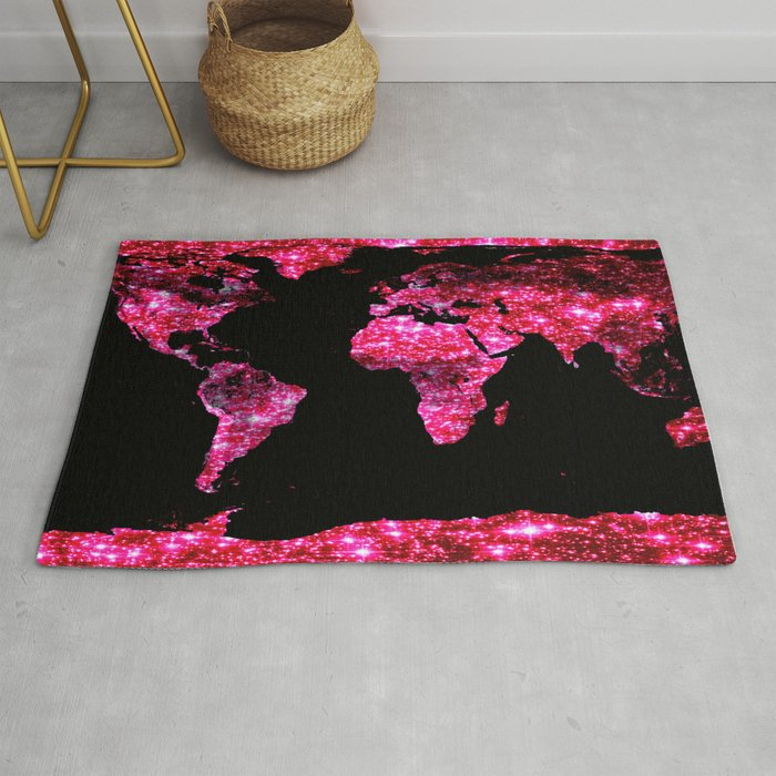 World Map Pink Galaxy Sparkle Rug