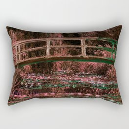 Monet The Lily Pond Living Coral Green Rectangular Pillow