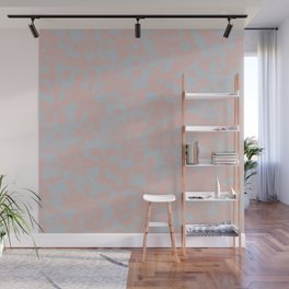 Soft Pink & Gray Floral Silhouette Pattern - Broken but Flourishing Wall Mural