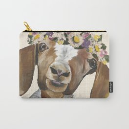 Goat Art, Flower Crown Goat Carry-All Pouch