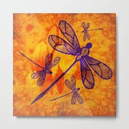 Navy-blue embroidered dragonflies on textured vivid orange background Metal Print