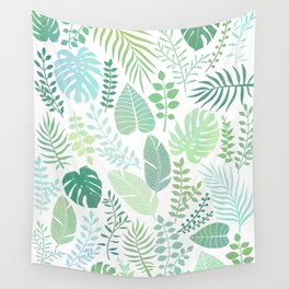 Green tropical leaves pattern Wall Tapestry