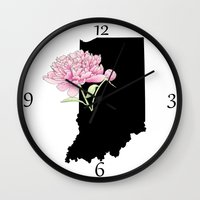 indiana Wall Clocks featuring Indiana Silhouette by Ursula Rodgers