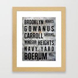Brooklyn Subway Sign Typography Framed Art Print