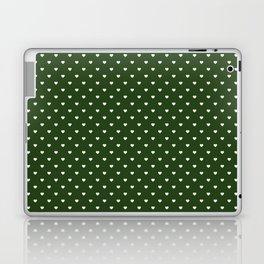 Small White Polka Dot Hearts on Dark Forest Green Laptop & iPad Skin