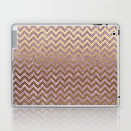 Pink and Gold Faux Velvet Grunge Chevron Stripes Laptop & iPad Skin