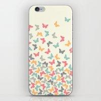 butterflies iPhone & iPod Skins featuring Butterflies by Juste Pixx Designs