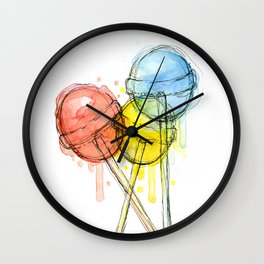 Lollipop Red Blue Yellow Candy Food Watercolor Wall Clock