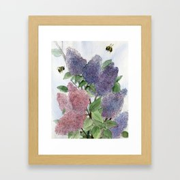 Lilacs and Bees Watercolor Painting Framed Art Print