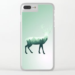 Deer Stag Elk Roe Fawn Moose Double Exposure Surreal Wildlife Animal Clear iPhone Case