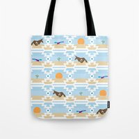 run Tote Bags featuring Run! by Dustinhy