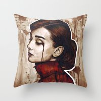 audrey Throw Pillows featuring Audrey  by Olechka