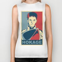naruto Biker Tanks featuring Naruto - Hokage by KingSora