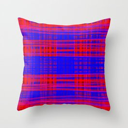 uneven grids, blue and red Throw Pillow