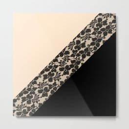 Elegant Peach Ivory Black Floral Lace Color Block Metal Print