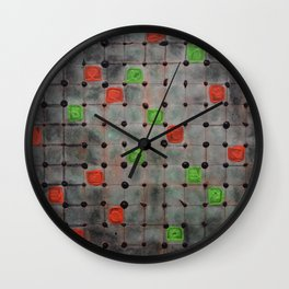 Grid with Green and Orange Highlights Wall Clock