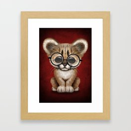 Cute Cougar Cub Wearing Reading Glasses on Red Framed Art Print
