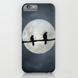Silvery Moon And Crows iPhone Case